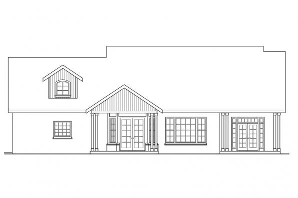 Cottage House Plan - Heartsong 10-470 - Rear Elevation