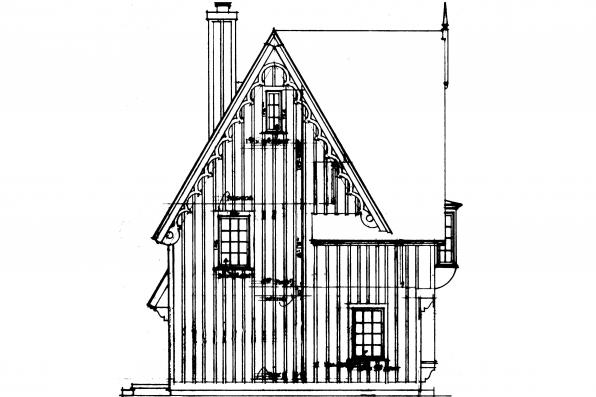 Cottage House PLan - Isabelle 42-009 - Left Elevation
