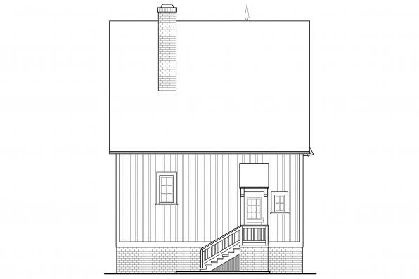 Cottage House Plan - Langston 42-027 - Rear Elevation