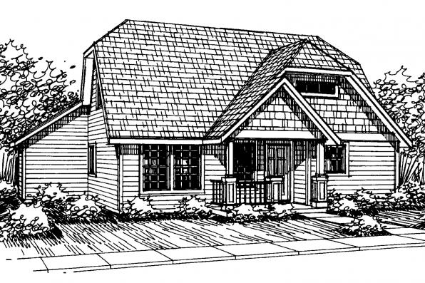 Cottage House Plan - Lawrence 30-103 - Front Elevation
