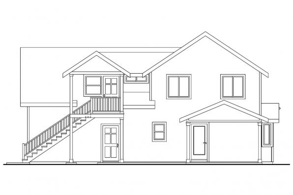 Cottage House Plan - Mallory 30-576 - Rear Elevation