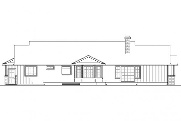 Country House Plan - Eastport 10-548 - Rear Elevation