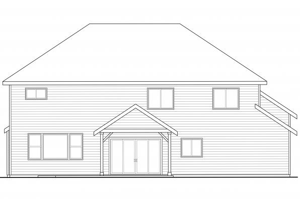 Country House Plan - Forest Grove 30-954 - Rear Elevation