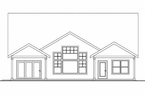 Country House Plan - Maywood 30-680 - Rear Elevation