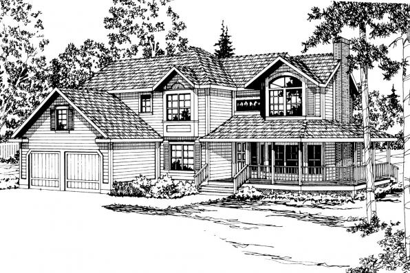 Country House Plan - Melville 10-096 - Front Elevation