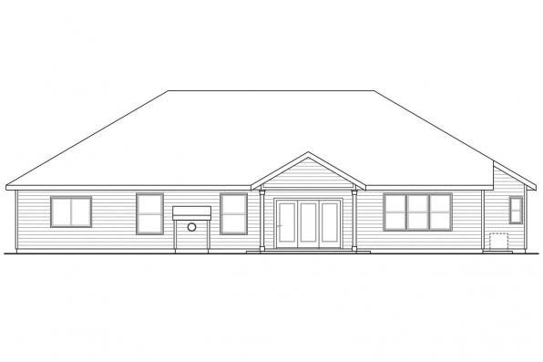 Country House Plan - Oak Hill 30-810 - Rear Elevation