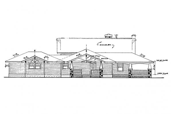 Country House Plan - Palo Verde 41-015 - Left Elevation