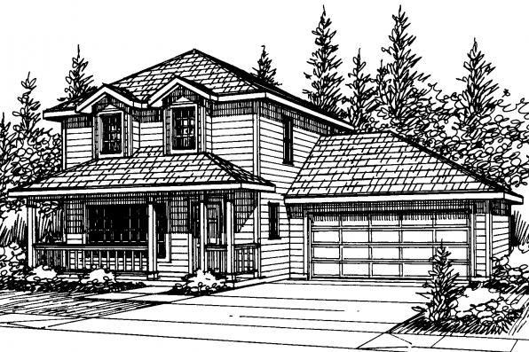 Country House Plan - Patterson 30-117 - Front Elevation