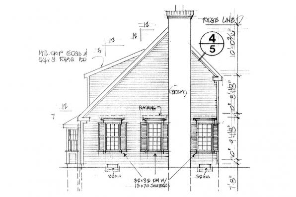 Country House Plan - Perrysburg 42-001 - Left Elevation