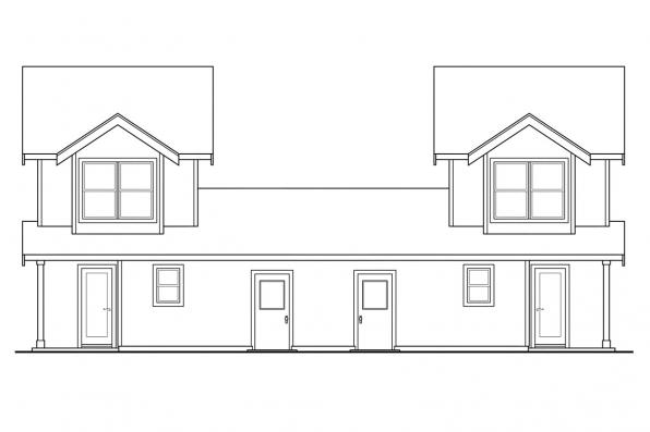 Country House Plan - Rothbury 60-016 - Rear Elevation