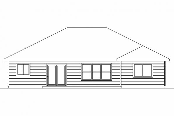 Country House Plan - Wheatfield 30-673 - Rear Elevation