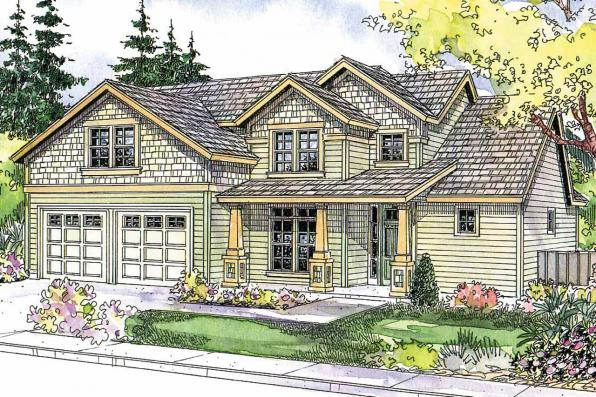 Craftsman House Plan - Brightwood 30-527 - Front Elevation