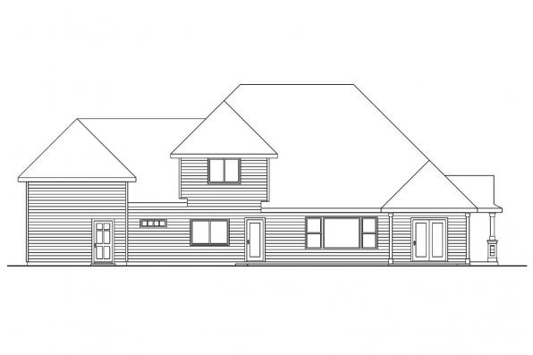 Craftsman House Plan - Claredon 30-564 - Rear Elevation