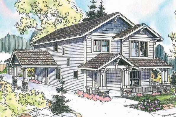 Craftsman House Plan - Grovedale 30-574 - Front Elevation