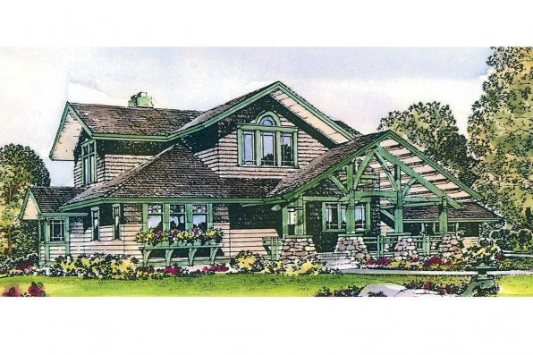 Craftsman House Plan - Huntington 42-017 - Front Elevation