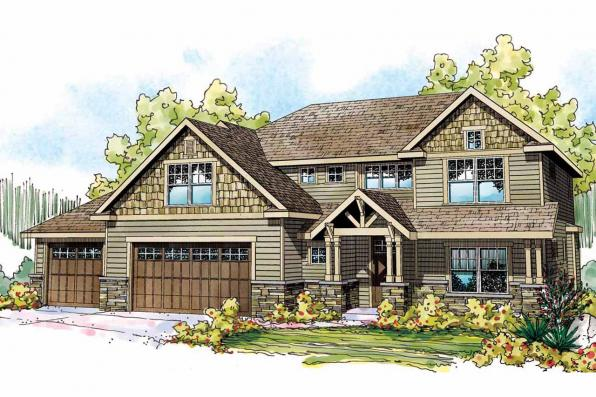 Craftsman House Plan - Oakridge 30-761 - Front Elevation
