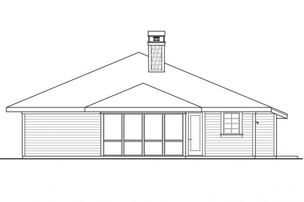 Craftsman House Plan - Tidewater 30-997 - Rear Elevation