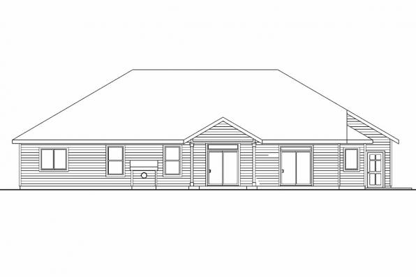 Craftsman House Plan - Windsor 30-678 - Rear Elevation