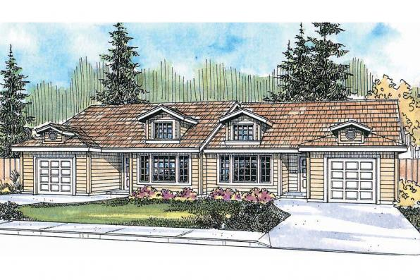 Duplex Plan - Ackerman 60-011 - Front Elevation