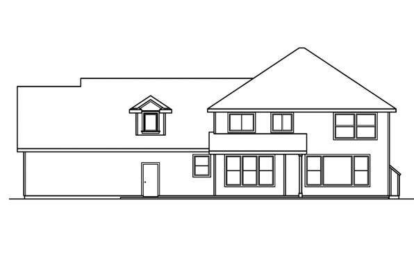 European House Plan - Glenhurst 30-372 - Rear Elevation