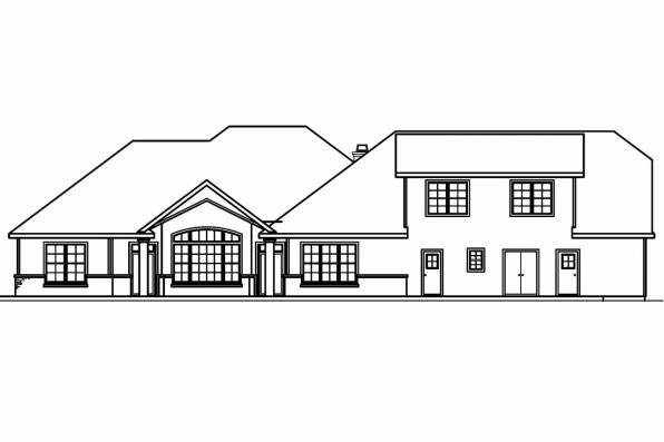 European House Plan - Meridian 30-312 - Rear Elevation