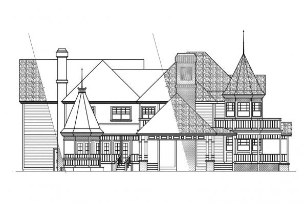 European House Plan - Victorian 10-027 - Left Elevation