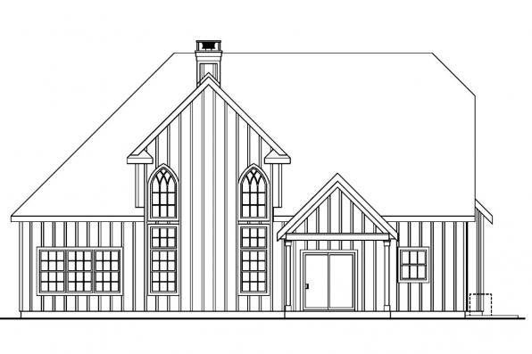 European House Plan - Wedgewood 30-629 - Rear Elevation