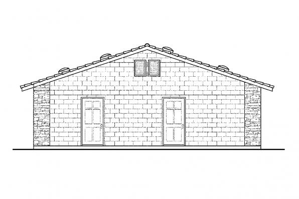 Garage Design 20-001 - Rear Elevation