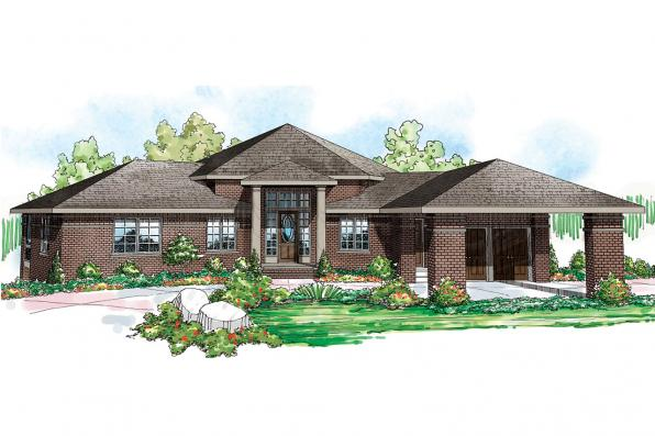 Georgian House Plan - Alder Springs 10-549 - Front Elevation