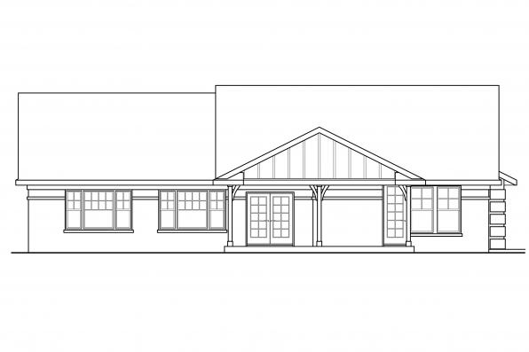 Georgian House Plan - Bakersfield 10-582 - Rear Elevation