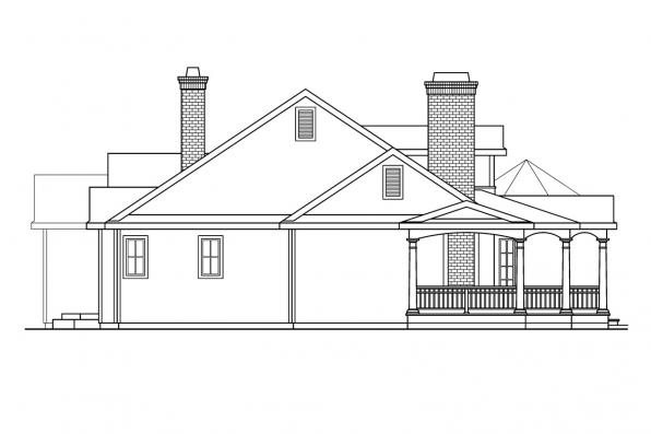 Georgian House Plan - Greenbriar 10-401 - Left Elevation