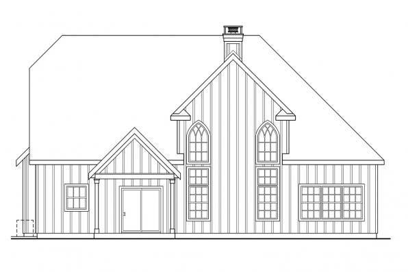 Georgian House Plan - Heartison 10-540 - Rear Elevation