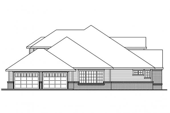 Georgian House Plan - Laurelwood 30-722 - Left Elevation