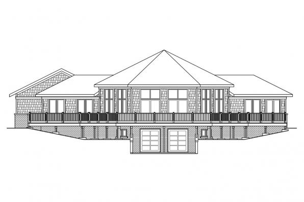 Hexagonal House Plan - McCarren 10-509 - Rear Elevation
