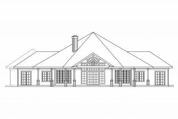Hexagonal House Plan - Myersdale 10-453 - Rear Elevation