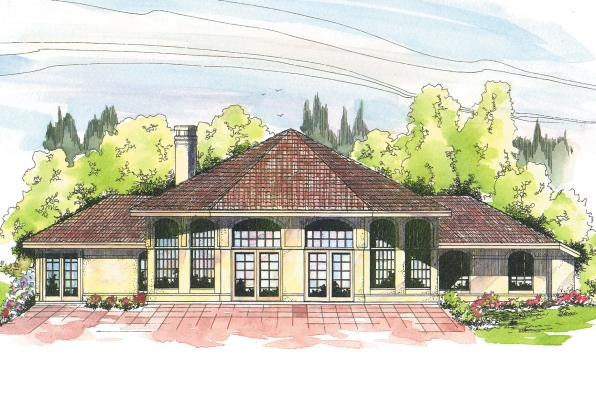 Hexagonal House Plan - Oakland 10-037 - Rear Elevation