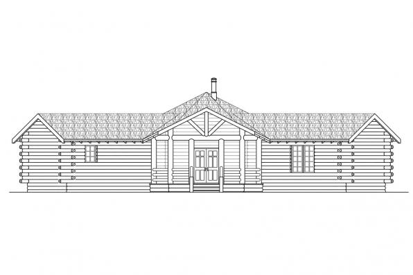 Hexagonal House Plan - Ridgeline 10-062 - Front Elevation
