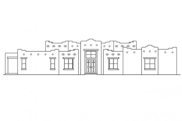 Hexagonal House Plan - Santa Fe 11-127 - Front Elevation