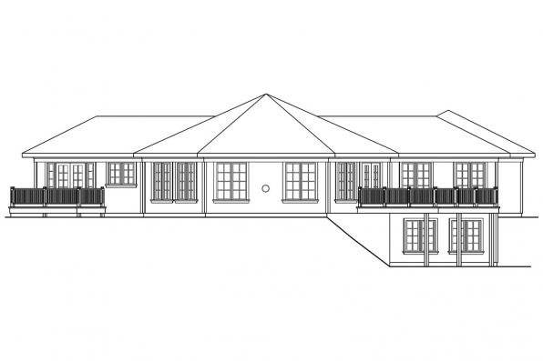 Hexagonal House Plan - Treyburn 10-497 - Rear Elevation