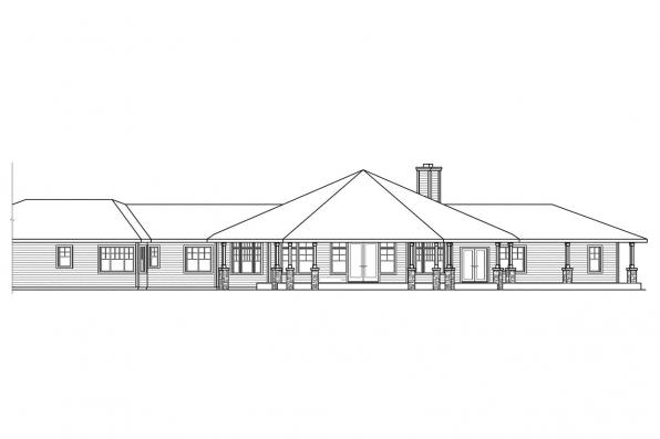 Hexagonal House Plan - Willow Creek 10-542 - Rear Elevation
