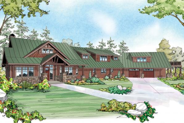 Lodge Style House Plan - Barnhart 30-946 - Front Elevation