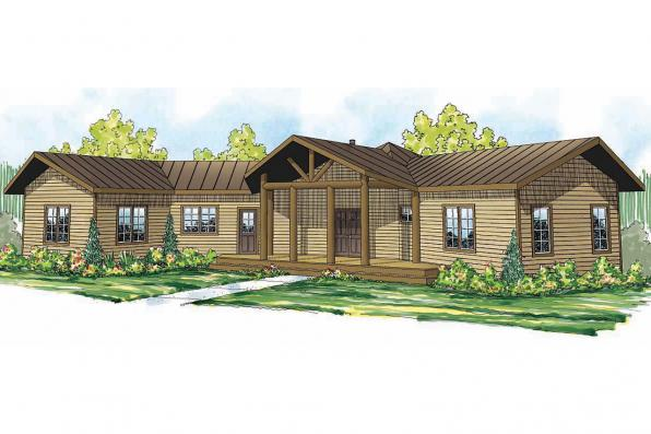 Lodge Style House Plan - Blue Creek 10-564 - Front Elevation