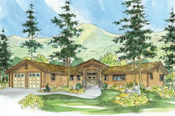 Lodge Style House Plan - Viewcrest 10-536 - Front Elevation