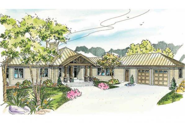 Lodge Style House Plan - Willow Creek 10-542 - Front Elevation