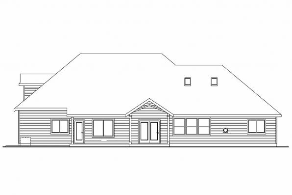 Luxury House Plan - Allison 30-608 - Rear Elevation