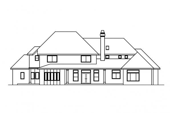 Luxury House Plan - Avalon 30-306 - Rear Elevation