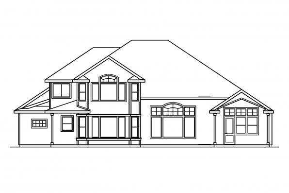 Luxury House Plan - Balentine 30-340 - Rear Elevation
