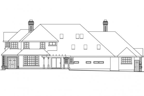 Luxury House Plan - Brinton 30-178 - Rear Elevation