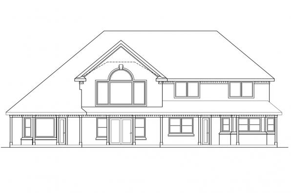 Luxury House Plan - Centralia 30-164 - Rear Elevation