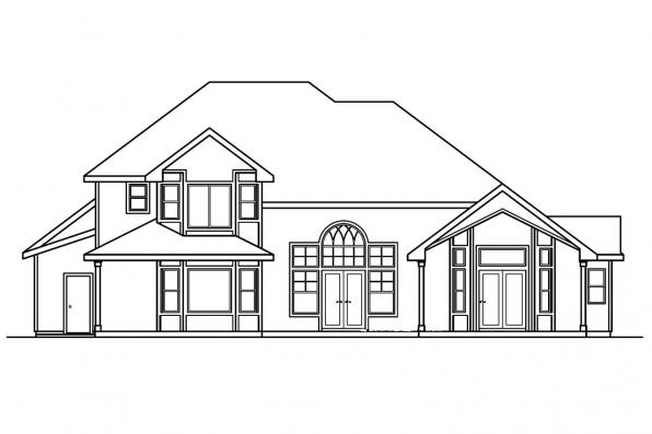 Luxury House Plan - Edmonton 30-342 - Rear Elevation